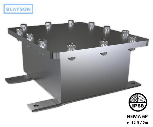NEMA 6P | IP68 Submersible Stainless Steel Junction Box, Enclosure, Rated 15ft / 5m