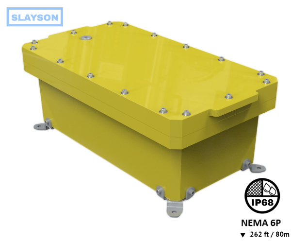 NEMA6P / IP68 Submersible Composite Polyurethane Enclosure, Subsea pressure vessel housing, Junction Box, Submersible 80m / 262ft